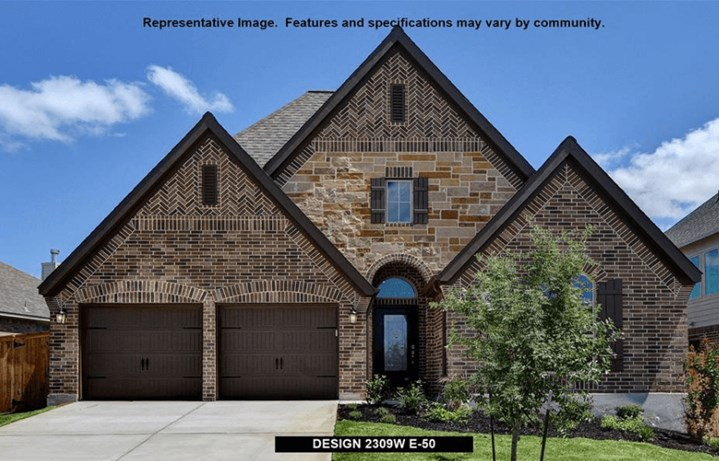 Perry Homes Plan 2309 Elevation in Canyon Falls
