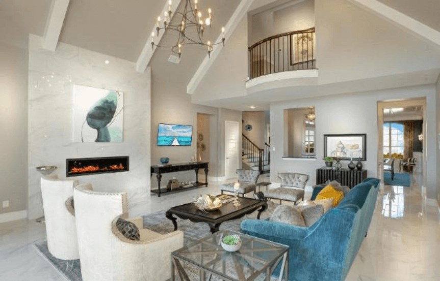 Drees Homes Plan Elmsdale Living Room Seating in Canyon Falls