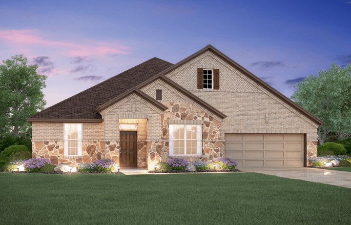 MI Homes Plan Angelina Elevation B in Canyon Falls