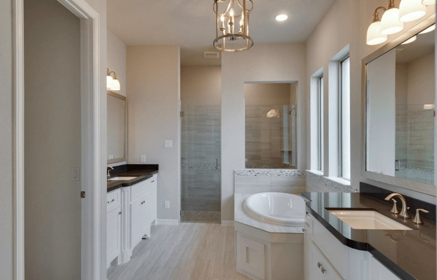 Drees Homes Plan Lorenzo Owner's Bath in Canyon Falls
