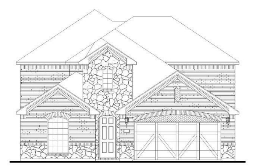 American Legend Plan 1527 Elevation A with Stone in Canyon Falls