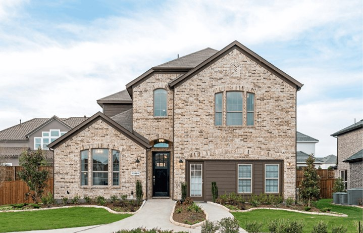 Landon Homes 519 Bradley Elevation A with Stone in Canyon Falls