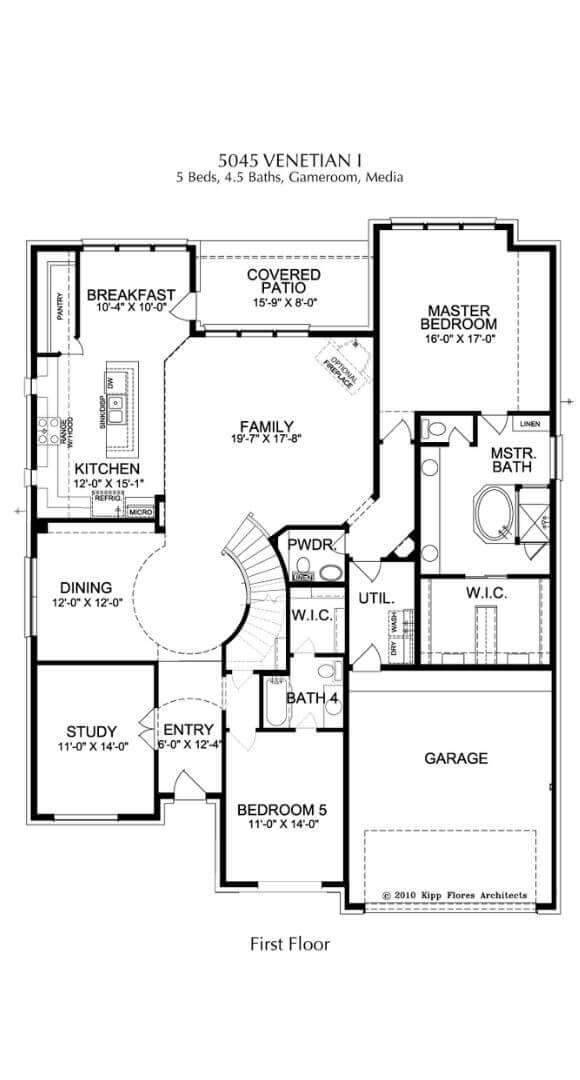 Landon Homes Plan 5045 Venetian First Floor in Canyon Falls