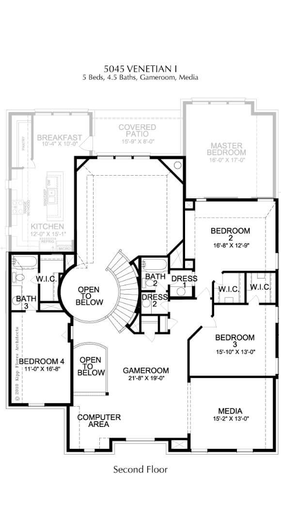 Landon Homes Plan 5045 Venetian I Second Floor in Canyon Falls