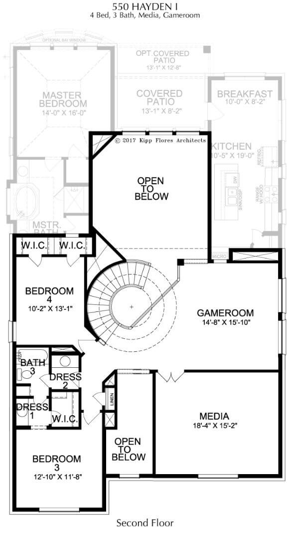 Landon Homes Plan 550 Hayden I Second Floor with Media and Game Room in Canyon Falls