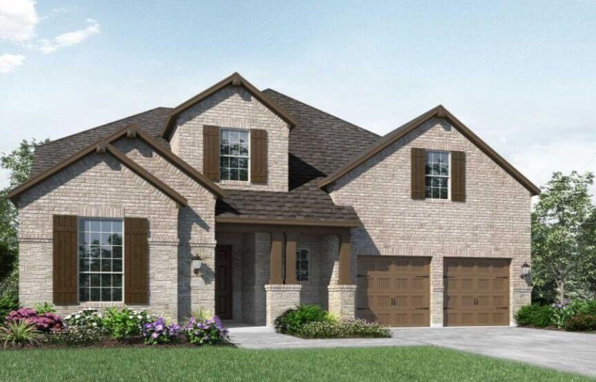 Highland Homes Plan 247 Elevation C in Canyon Falls