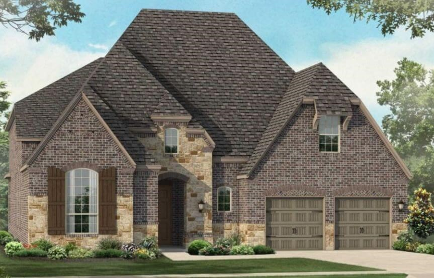 Highland Homes Plan 247 Elevation D in Canyon Falls