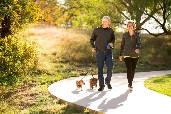 Couple with dogs walking on Canyon Falls' trails