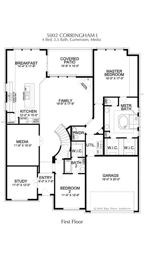 Landon Homes Plan 5002 Corringham First Floor in Canyon Falls