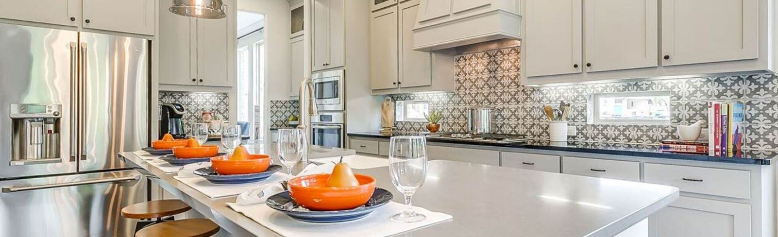 M/I Homes model kitchen at Canyon Falls, TX