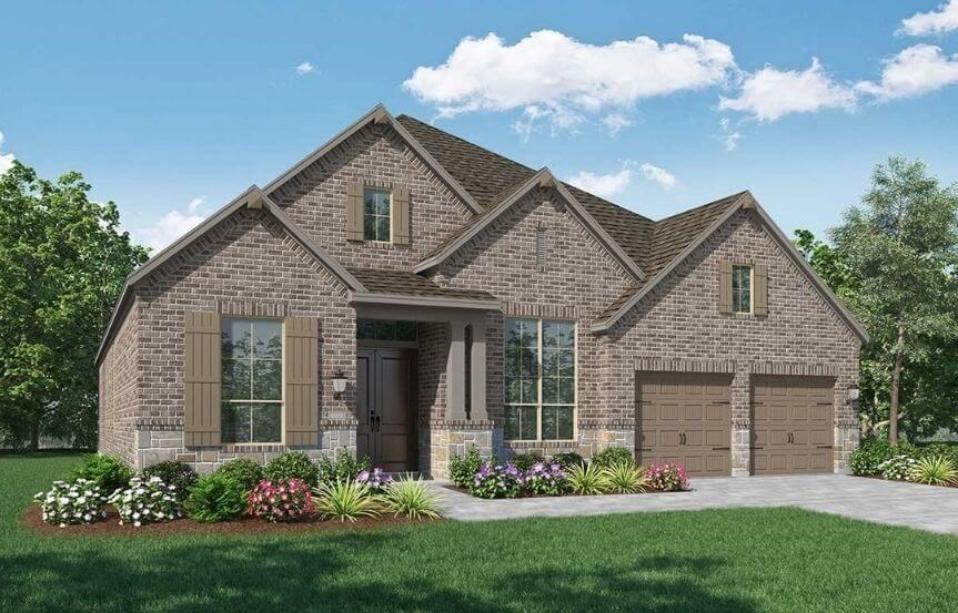 Highland Homes Plan 216 Elevation A in Canyon Falls
