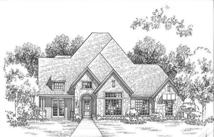 Belclaire Homes Plan B811 Elevation A with Stone in Canyon Falls