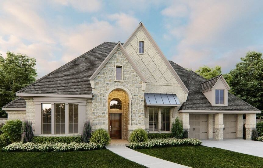 Perry Luxury Homes Plan 3525W Elevation 101 in Canyon Falls